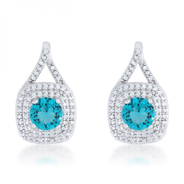 Christal 2.3ct Aqua Cz Rhodium Classic Drop Earrings