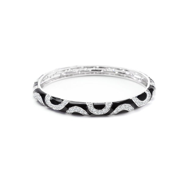 Black Enamel Cz Swirl Bangle