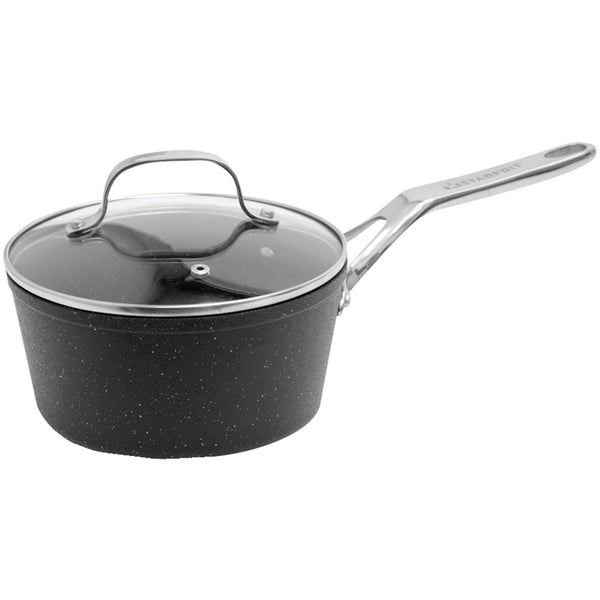 The Rock By Starfrit The Rock By Starfrit Saucepan With Glass Lid & Stainless Steel Handles (2-quart)