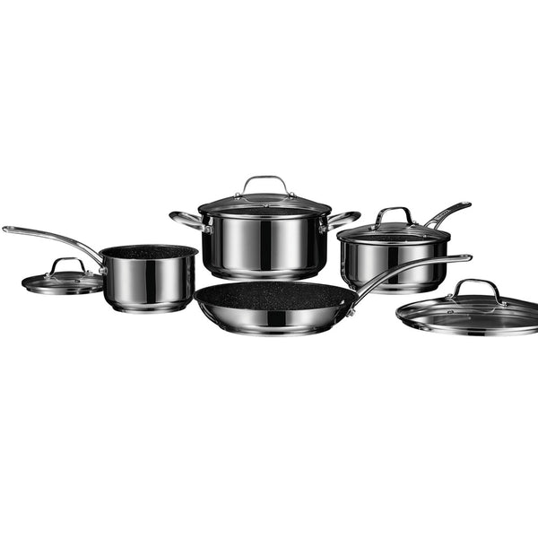Starfrit The Rock By Starfrit Stainless Steel Non-stick 8-piece Cookware Set With Stainless Steel Handles