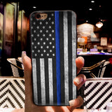 Blue Line American US Flag iPhone Case