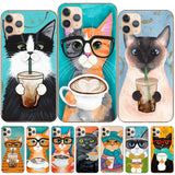 Cute Latte Acrylic Coffee Milk Drink Bottle Cat Silicon iPhone Case