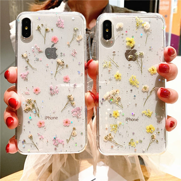 Real Dry Flower Glitter Clear iPhone Case