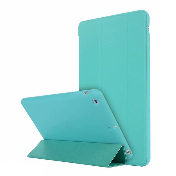 Leather Silicone Soft Back Cover with Trifold Stand Auto Sleep for iPad Mini