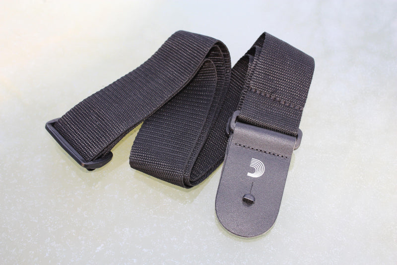 Guitar strap black made from polypropylene. Made by d'Addario.