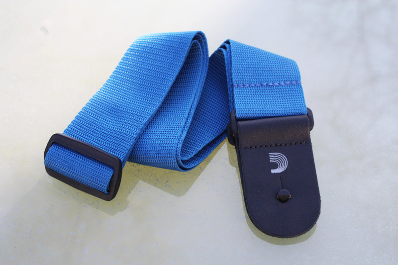 Guitar strap blue made from polypropylen. Made by d'Addario.