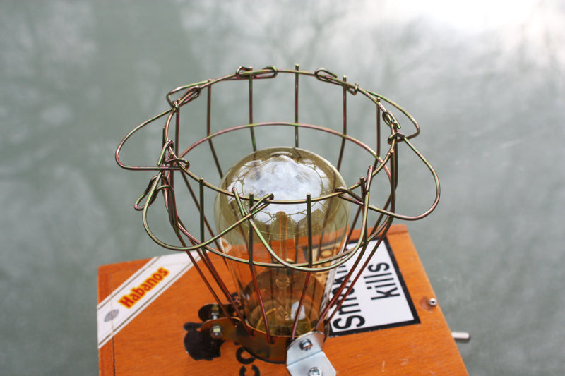 Cigar box lamp, Cohiba box, with wire mesh cover which can be opened to change the bulb.