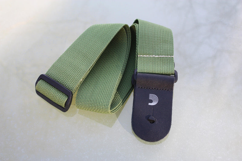 Guitar strap green made from polypropylen. Made by d'Addario.