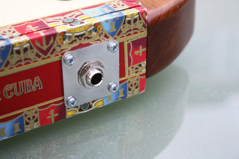 Stainless Steel Jack Socket Plate, plain square on cigar box guitar, provided with fixing screws.