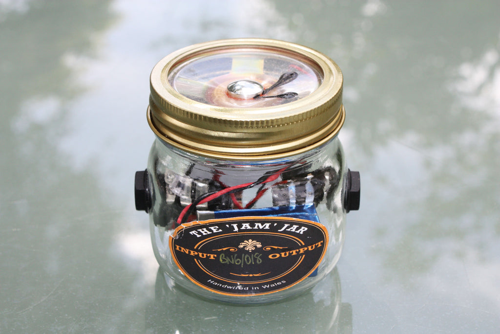"""The Jam Jar"" mini-amplifier, 1/4 watt. Battery powered, can be used as an overdrive pedal."