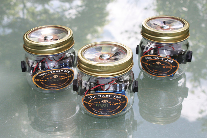 """The Jam Jar"" mini-amplifier collection, 1/4 watt. Battery powered, can be used as an overdrive pedal."