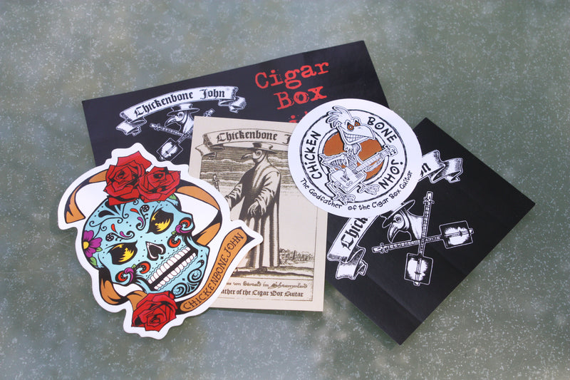 ChickenboneJohn sticker pack, collection of 5 stickers including our Plague Doctor, Sugar Skulls and Original ChickenboneJohn design.