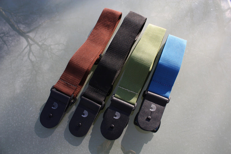 Guitar strap made from polypropylene available in various colours. Made by d'Addario.