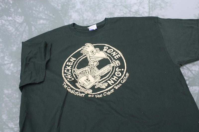ChickenboneJohn T-Shirt with Original design. Cream on green, 100% cotton.
