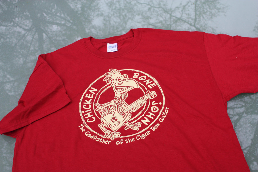 ChickenboneJohn T-Shirt with Original design. Cream on red, 100% cotton.