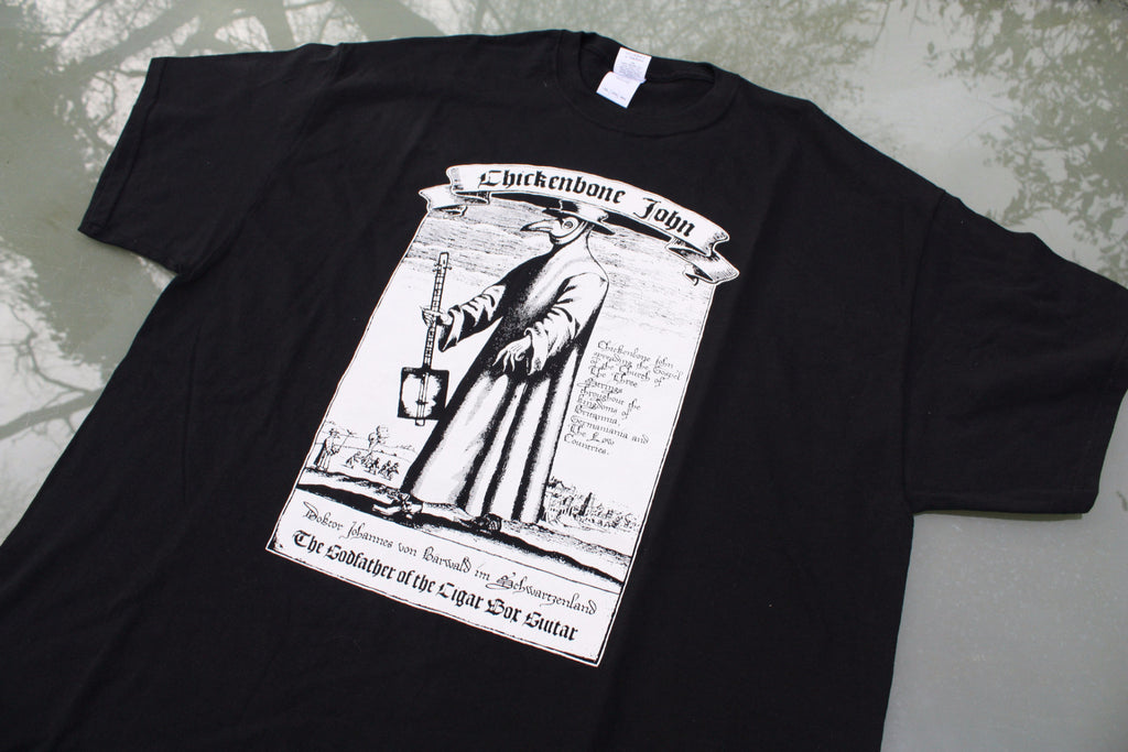 ChickenboneJohn T-Shirt with Plague Doctor design. White on black, with small logo on the back. 100% cotton.
