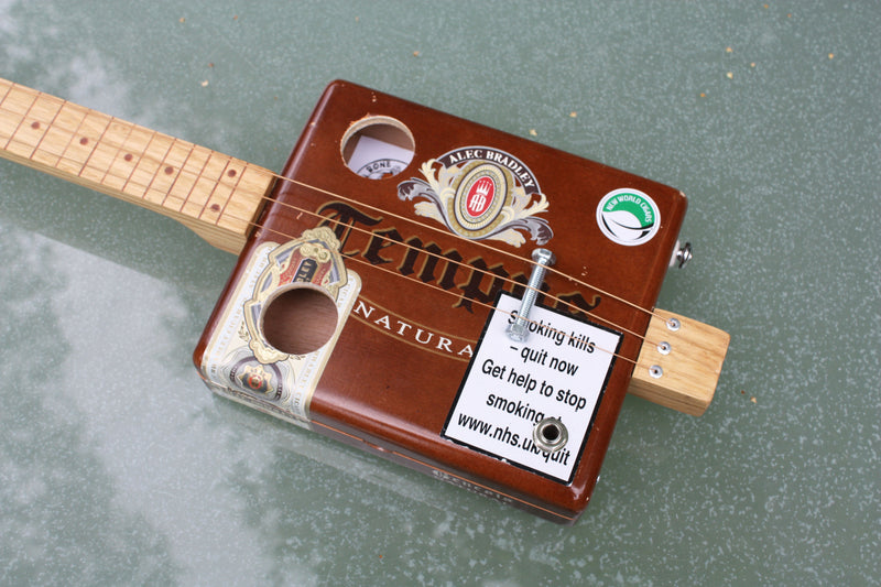 Tempest - LEFTY Fretless 3 string cigar box guitar