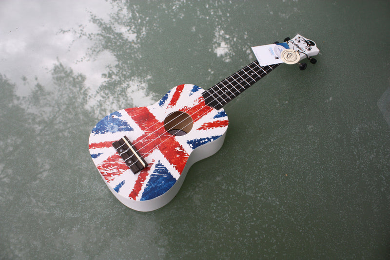 Octopus Union Jack Ukulele, beginners soprano ukulele with union jack flag graphics.