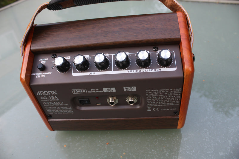 Aroma AG-15 rechargeable battery acoustic guitar amp.