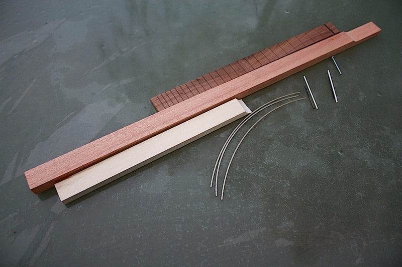 3 string cigar box guitar neck, basic parts, sapelewood, cherrywood, blackwoodTek fretboard and fretwire.