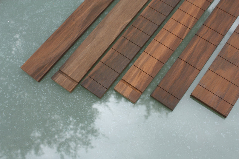 Blackwood Tek Fretboard collection, available blank, slotted for 3 and 6 string guitars.