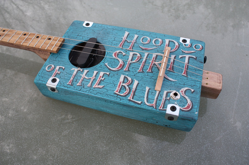 Workshop Series, teal blue  crackle 'Hoodoo Spirit' LEFTY 3 string cigar box guitar