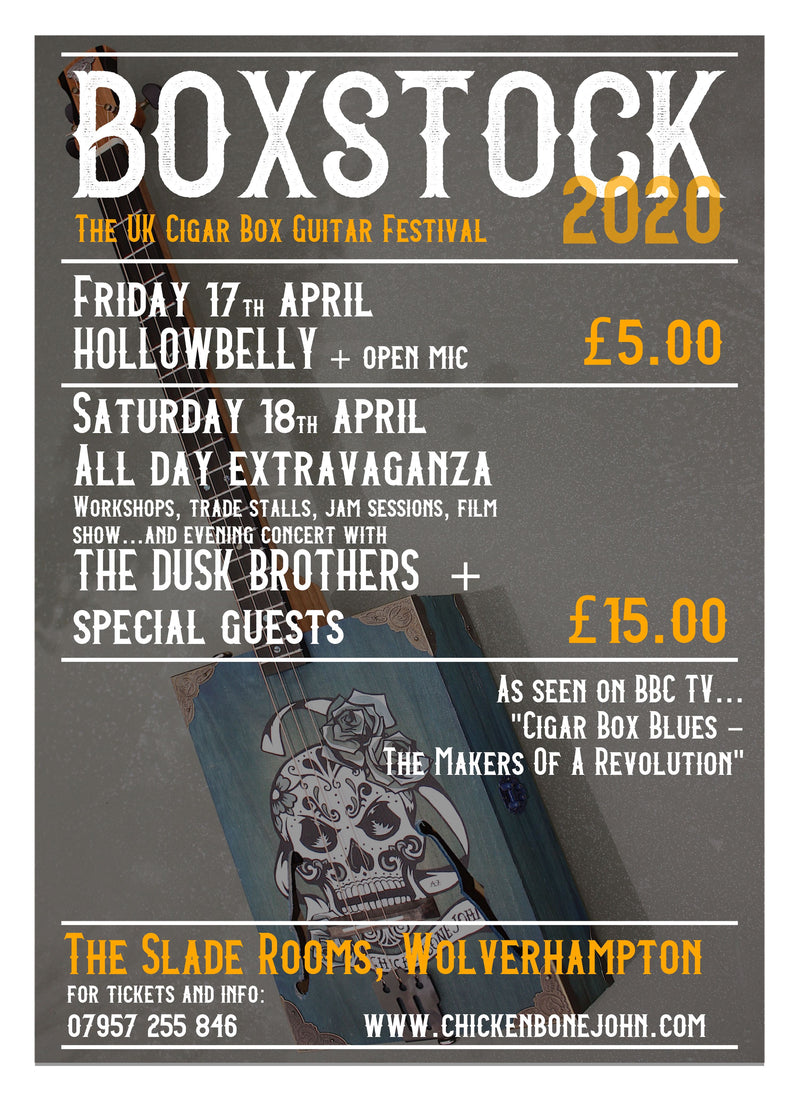 Ticket for BOXSTOCK, The UK Cigar Box Guitar Festival, Wolverhampton,  17 & 18th April 2020