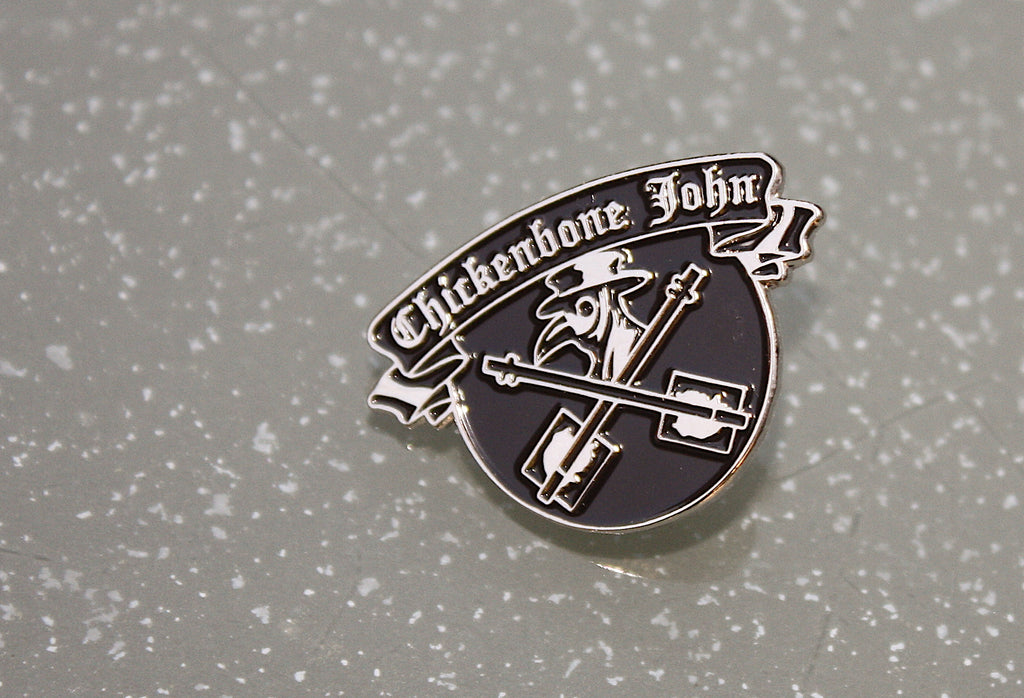 Plague Doctor metal pin badge, nickel plated with black enamel.