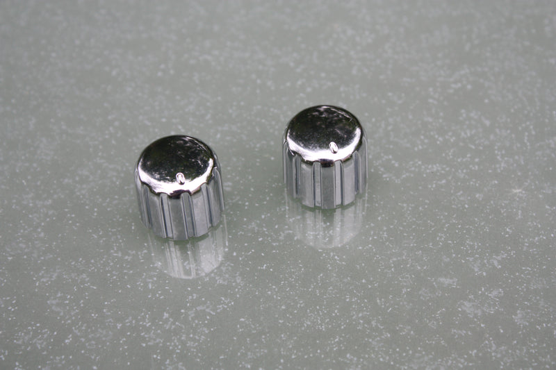 Silver control knobs - (pair)