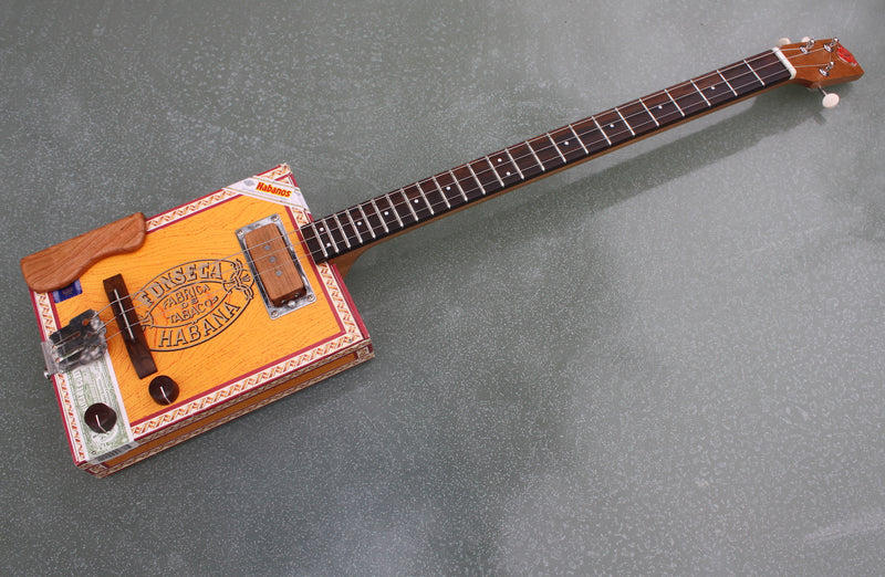 Fonseca 3 String Cigar Box Guitar, with handwound pickup & tilt neck