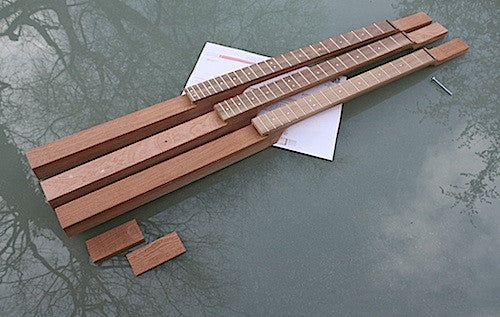 3 string cigar box guitar neck collection, fretted and profiled in sapele, cherrywood with blackwoodTek fretboard and Van Gent fretwire.