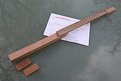 3 string cigar box guitar neck, fretted and profiled in sapele, cherrywood with blackwoodTek fretboard and Van Gent fretwire.