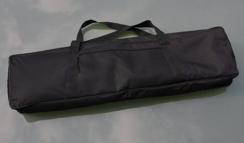 Durable black nylon gig bag with soft red nylon velour lining.