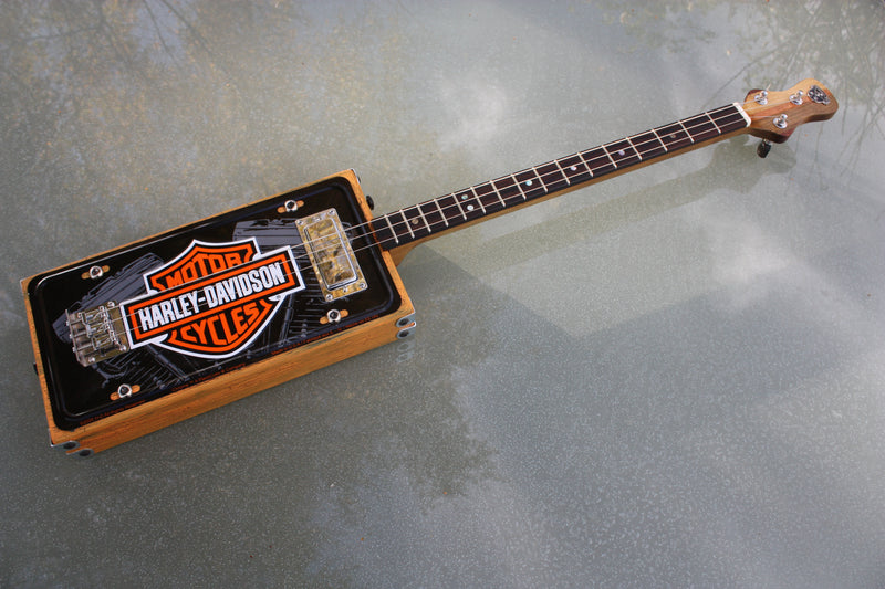Harley Davidson Licence Plate  3 String Guitar - Micro-angle adjustable neck
