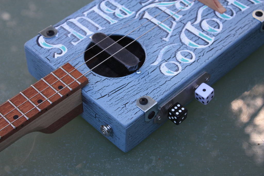 "Workshop Series ""Custom"" - Hoodoo, blue crackle - 3 String Cigar Box Guitar"