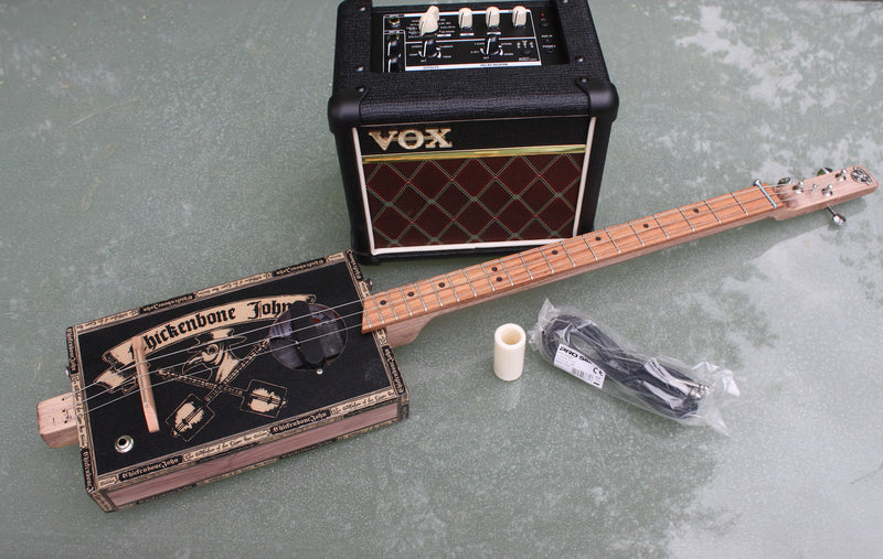 "Workshop ""Plague Doctor"" guitar + VOX Mini3 amp + lead + slide bundle deal"