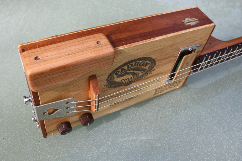 Padron 3 String Cigar Box Guitar, with handwound pickup & tilt neck
