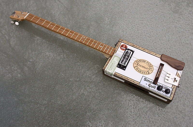 LEFTY Sancho Panza - 3 String humbucker, coil tap, Cigar Box Guitar, microtilt neck