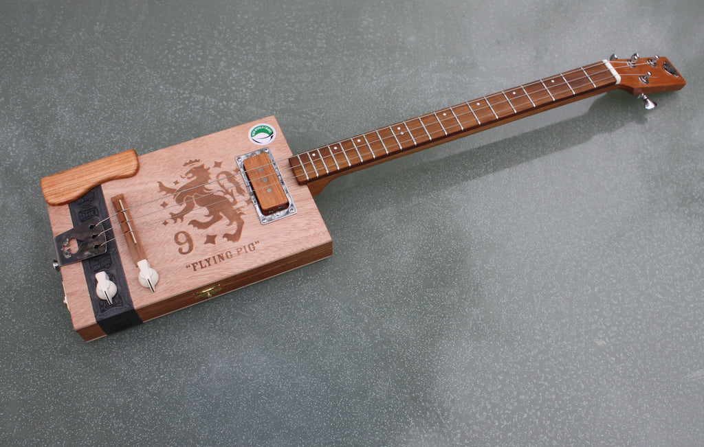Flying Pig 3 String Cigar Box Guitar, with handwound pickup & tilt neck