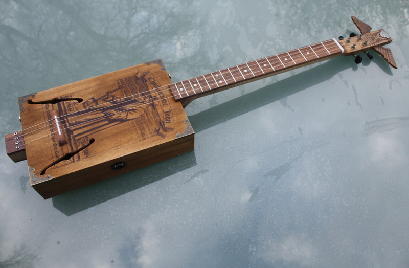 Plague Doctor ACOUSTIC 4 String Cigar Box Guitar - Fishman pickup