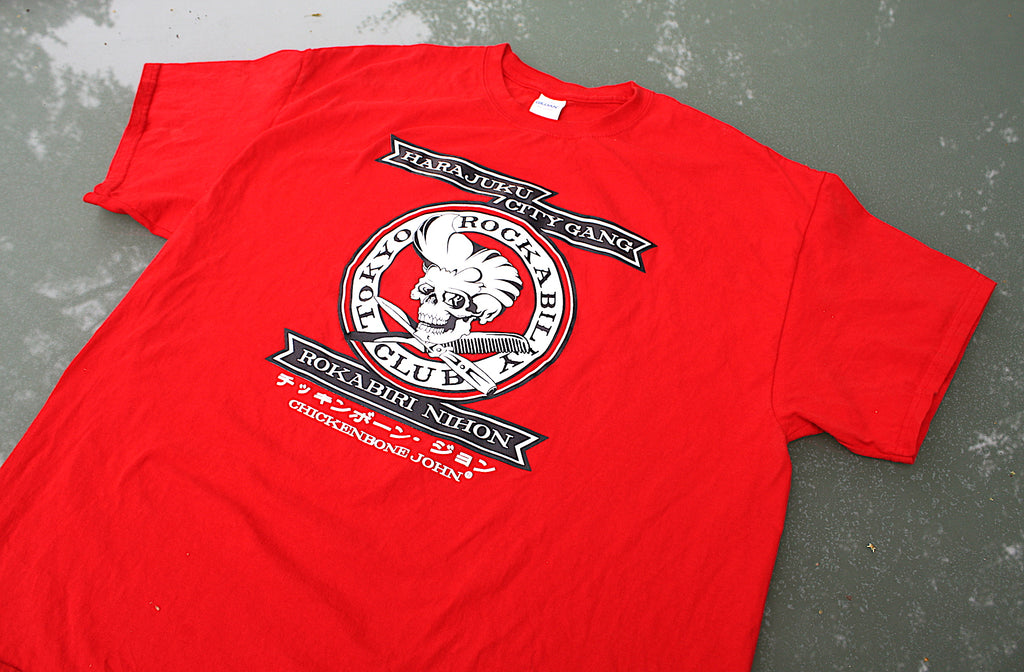 ChickenboneJohn T-Shirt with Tokyo Rockabilly Club design. White and black design on red, 100% cotton.