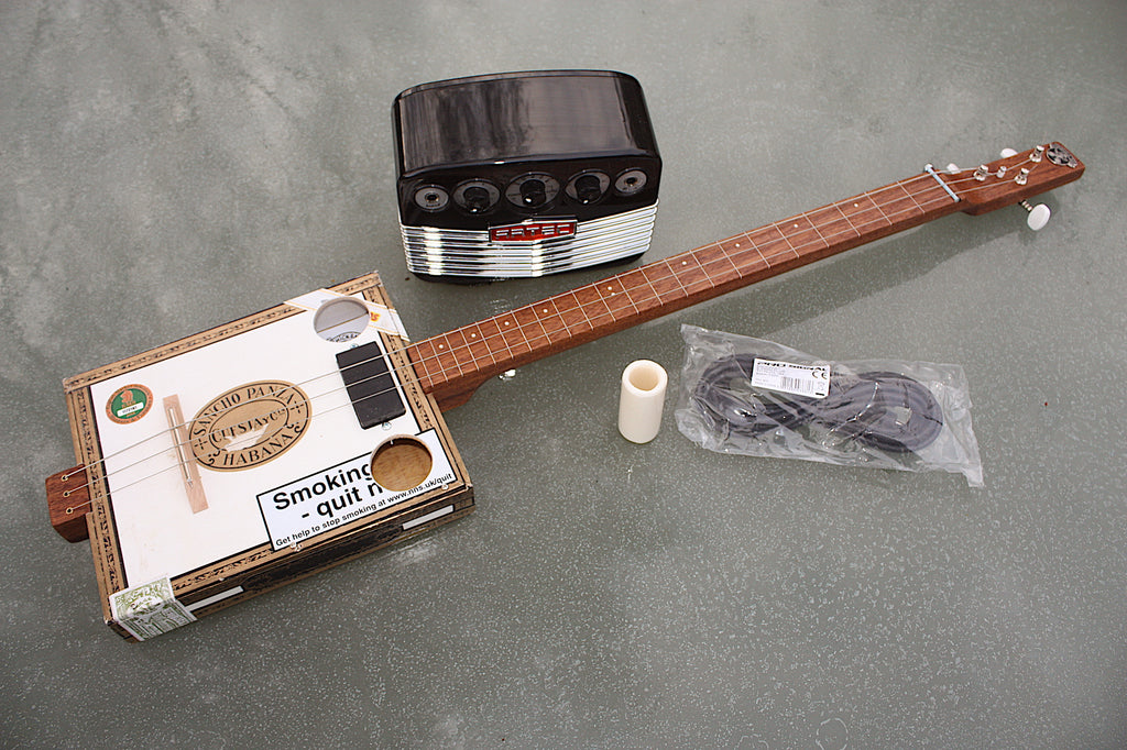 Sancho Panza - Fretless 3 string cigar box guitar & Artec Amp bundle