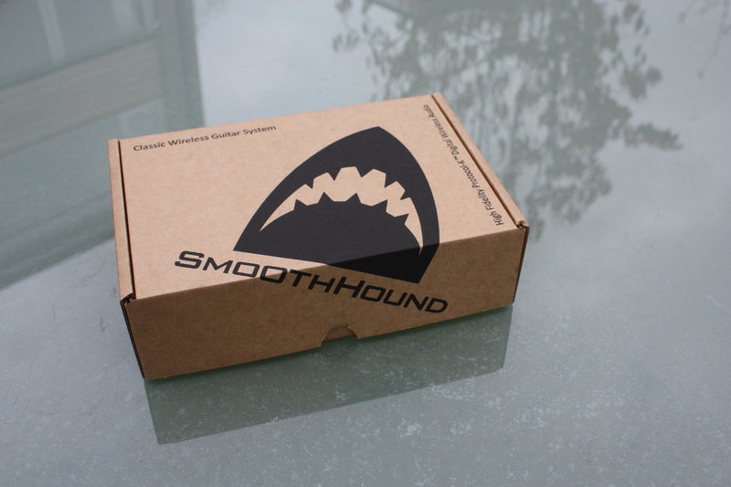 Smooth Hound Wireless guitar system in packing box.