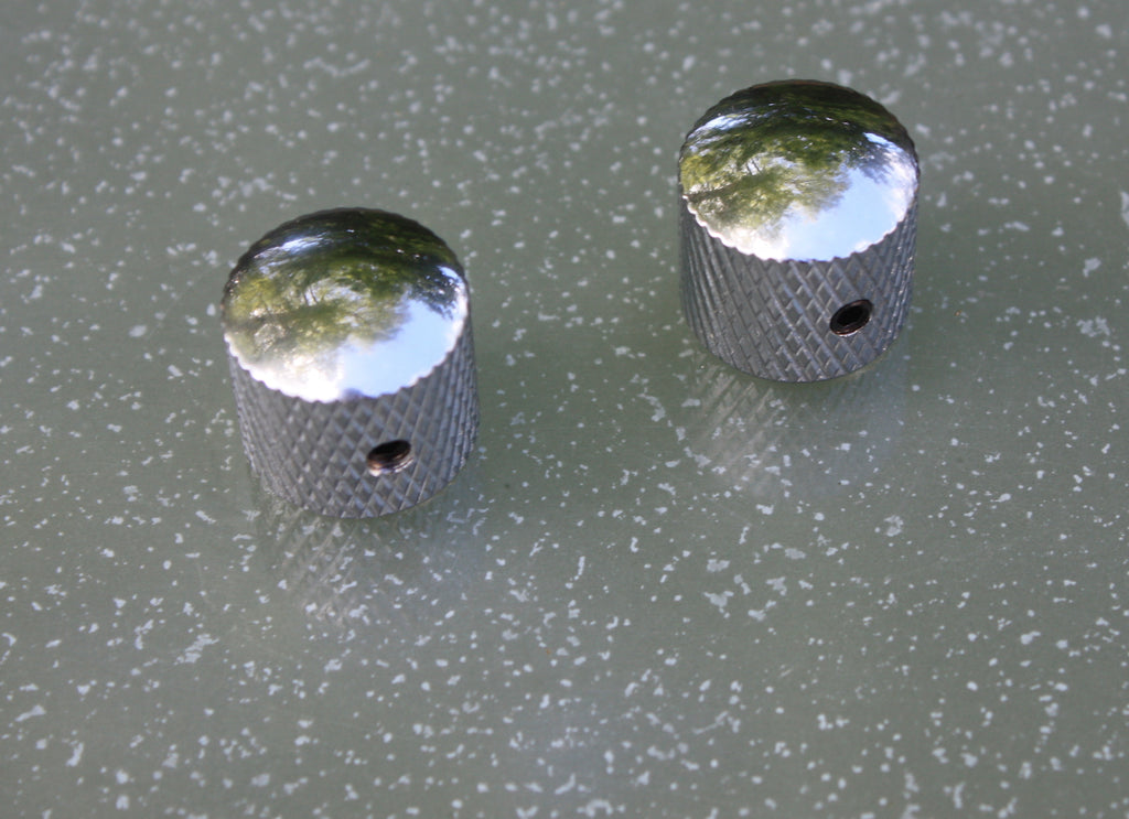 Telecaster style chrome control knobs - (pair)