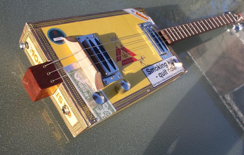 Montecristo twin humbucker pickup - 3 String Cigar Box Guitar