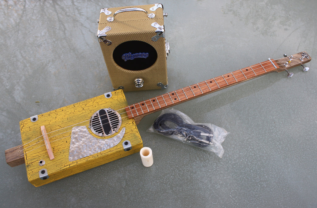 Workshop guitar, yellow + Pignose amp + lead + slide bundle deal