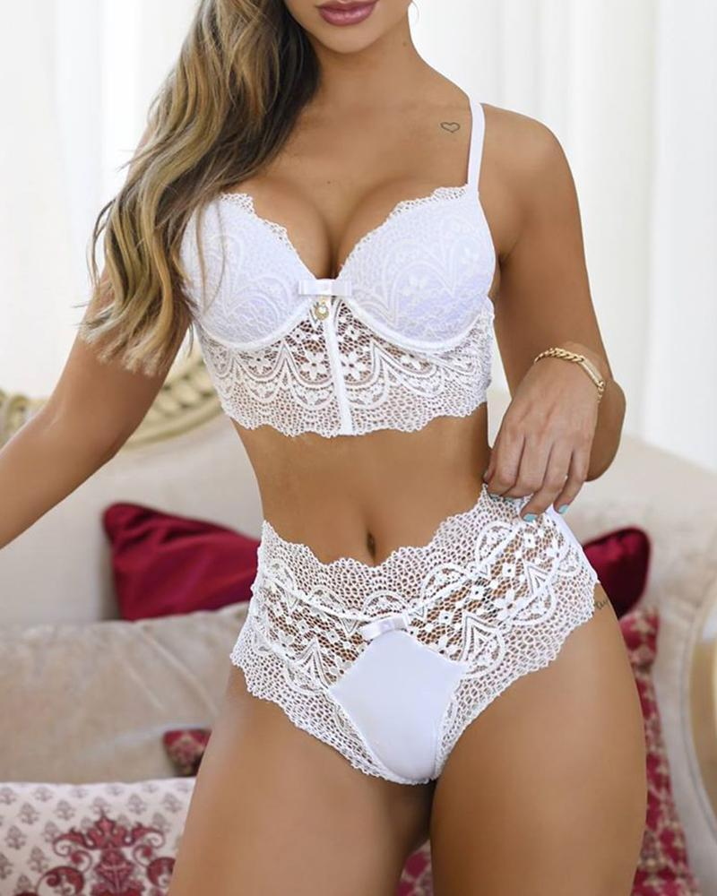 High Waist Crochet Lace Lingerie Set
