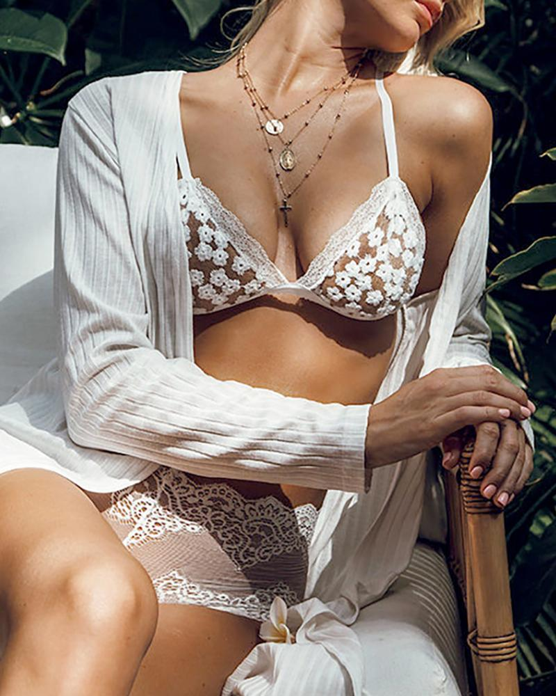 Crochet Lace Sheer Mesh Daisy Pattern Embroidery Bra Sets