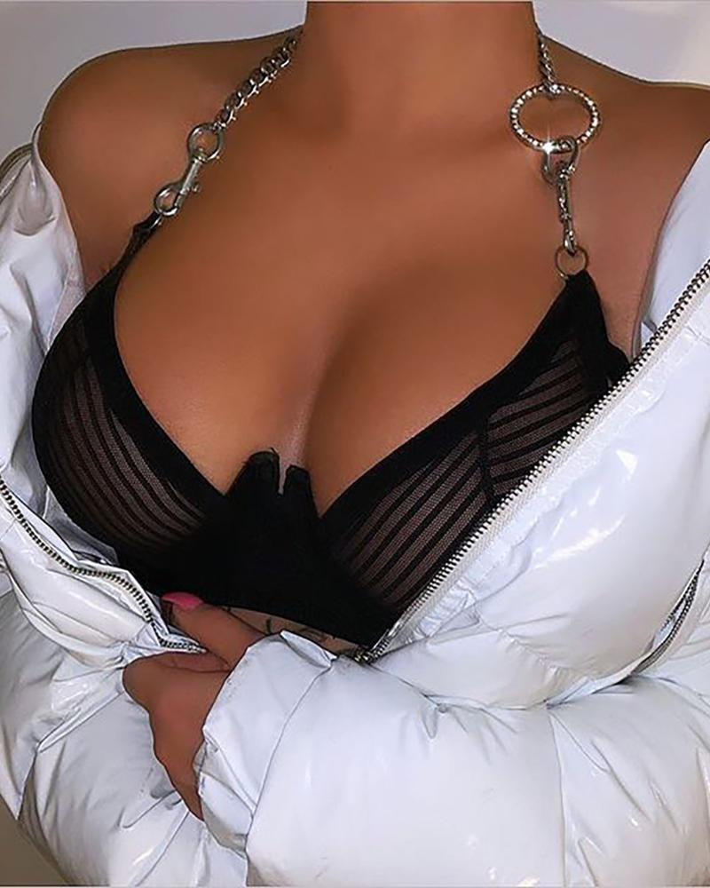 Halter Metal Design Sheer Mesh Bra Sets