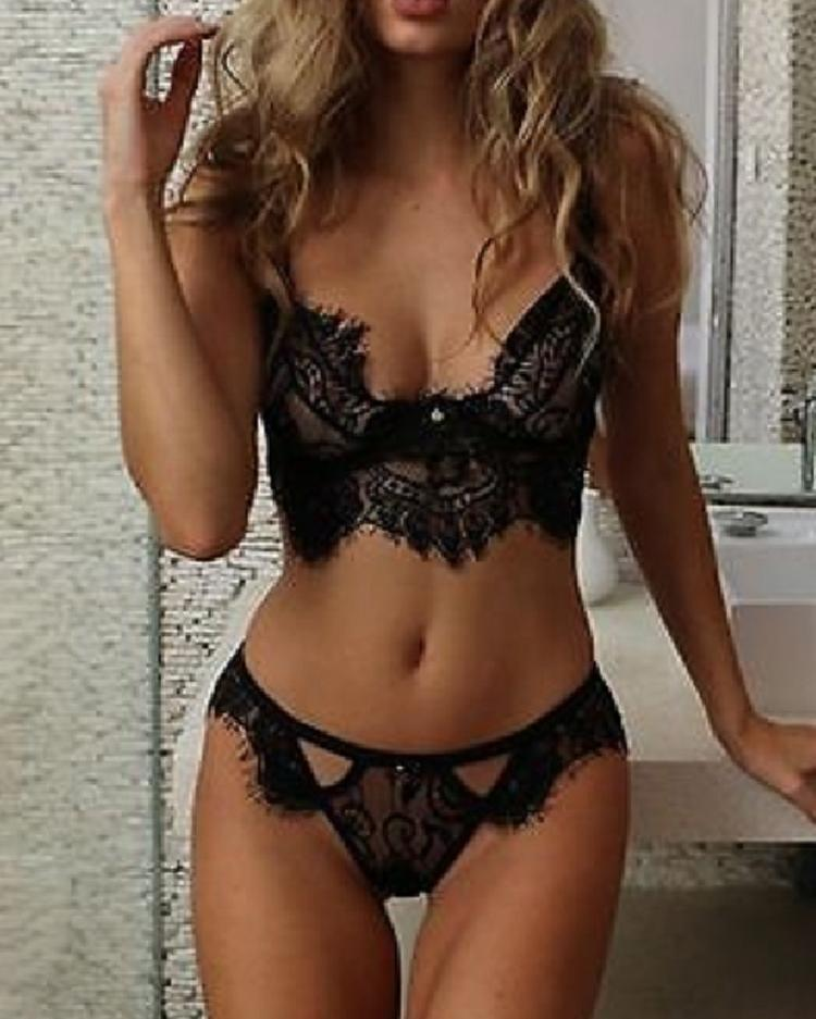 Eyelash Crochet Lace Cutout Bra Set
